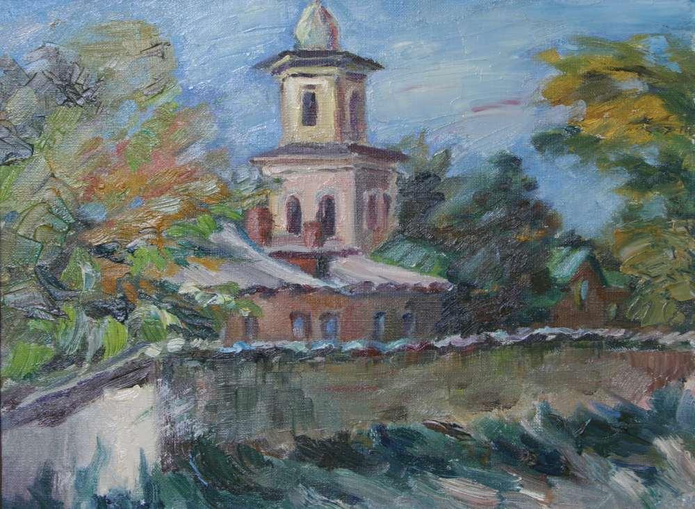 Пейзаж с церковной колокольней