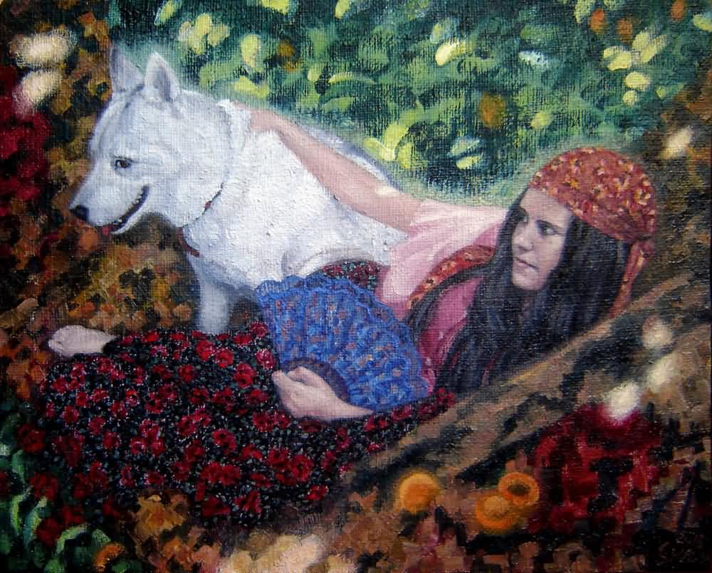 9. Сулин Девочка в цыганском платье и собака.